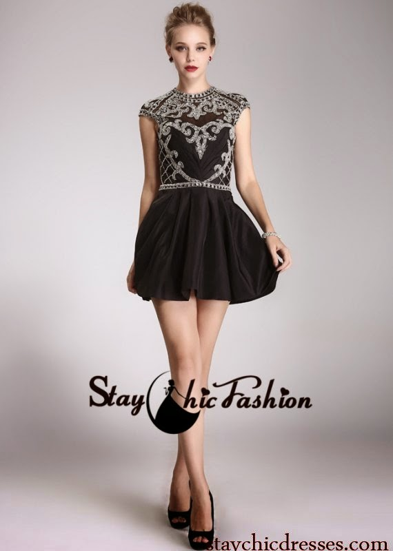 Short and sweet cocktail dress features a turtle neckline 7731489b4
