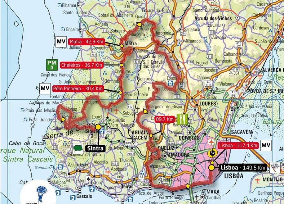 mapa cacem sintra Tudo sobre Sintra: Domingo: Sintra no caminho da 74ª Volta a  mapa cacem sintra