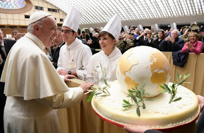 Pope and birthday cake