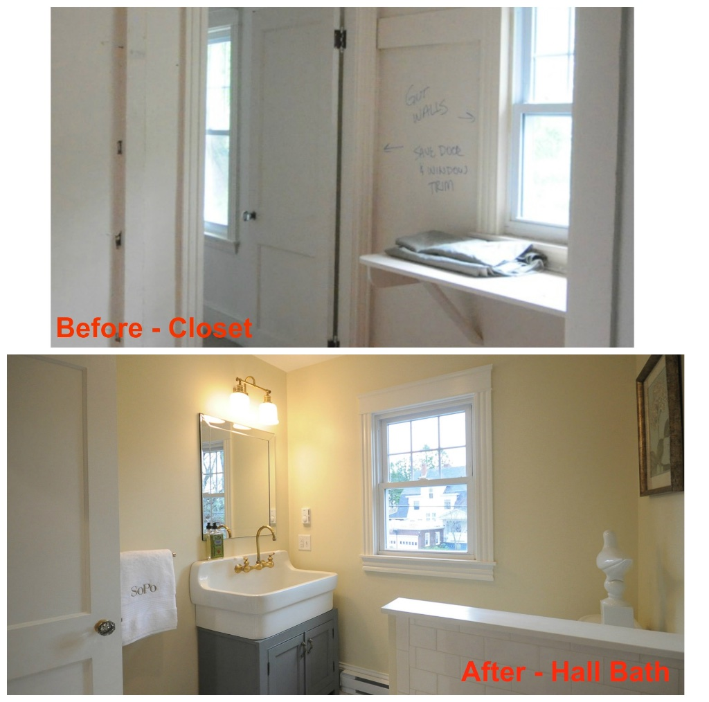 Sopo cottage the gracious gambrel before and after for Jack and jill bathroom with hall access