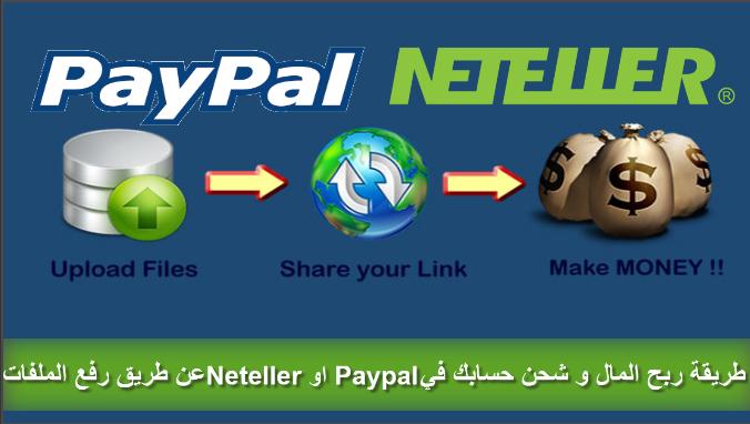 طريقة ربح المال و شحن حسابك في Neteller او Paypal عن طريق رفع الملفات