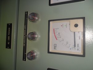 Appointment of indicators insulation meter after the repair on panel AC230 Feeder