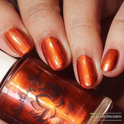 Nail polish swatch and review of autumn daze. This is a copper metallic nail polish by Soothing Soul Nail Lacquer.