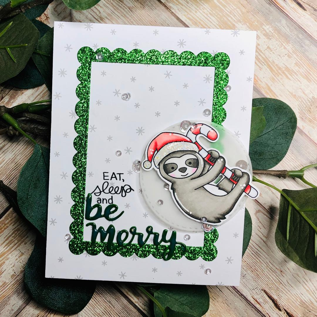 Be Merry Slothy Christmas Card by Guest Designer Kelli Cool | Slothy Christmas Stamp Set and Holiday Greetings Die Set by Newton's Nook Designs #newtonsnook #handmade