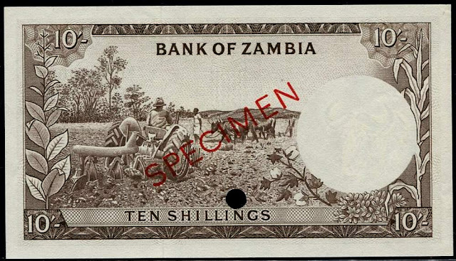 Zambia old paper money notes 10 Shillings bill