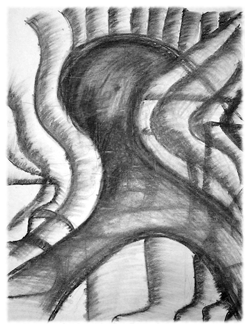 Drawing by Alex Nuttall, title: Swishy Ghost of Freedom - There's a Face in There