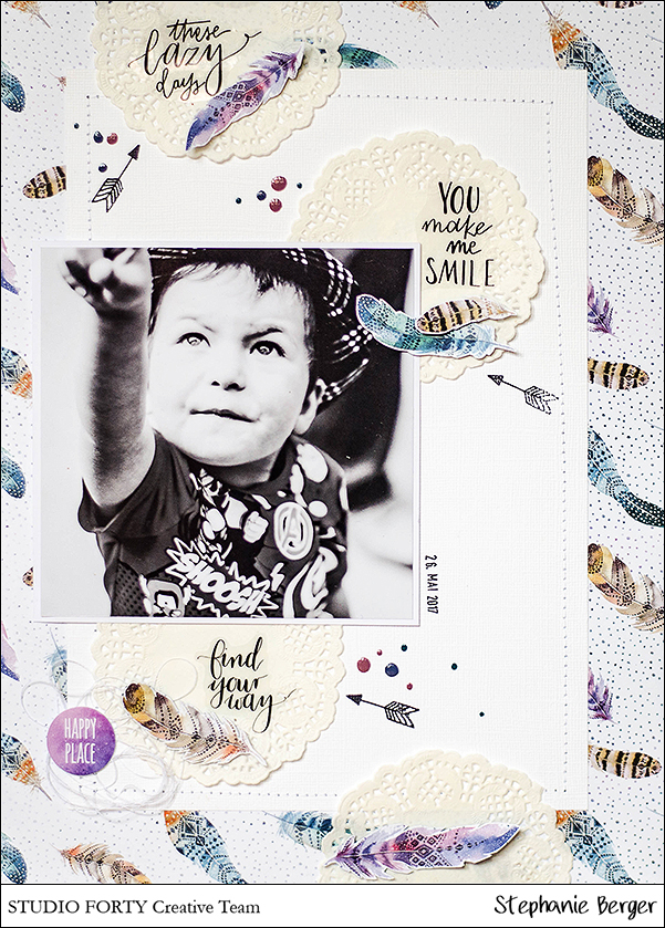 Stephanie Berger - Scrapbooking Layout - Studio40 - You make me smile