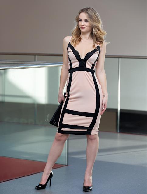 Bodycon Midi Dress Tammy Beige