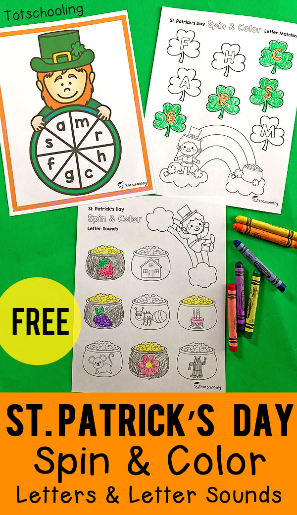 FREE literacy game for preschoolers and kindergarten kids for St. Patrick's Day. Spin & color the coloring pages while matching letters and letter sounds!