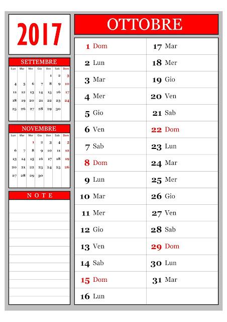 Calendario mensile - Ottobre 2017
