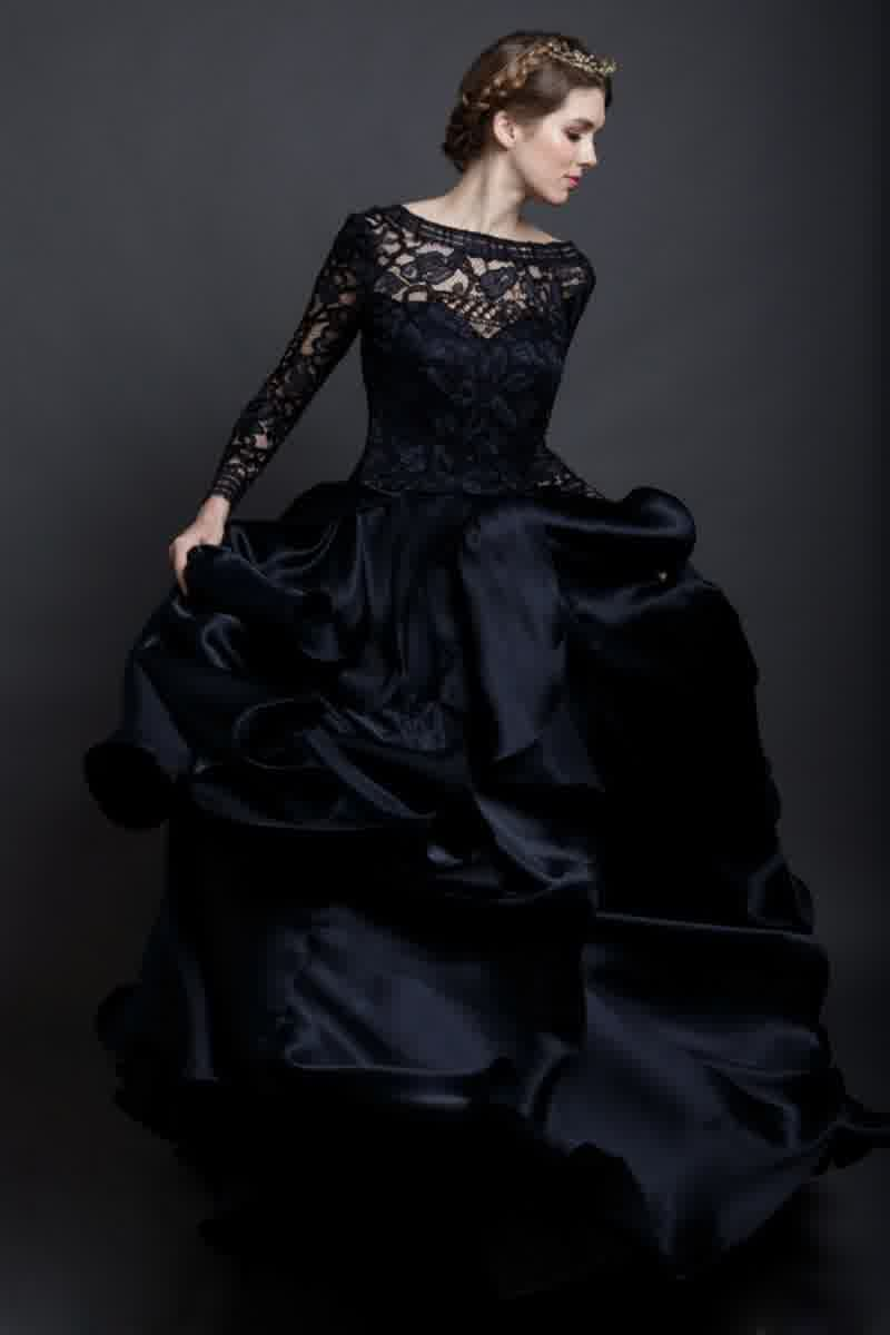 Black Wedding Dresses Lace Sleeves | ideas for bridal wedding trend