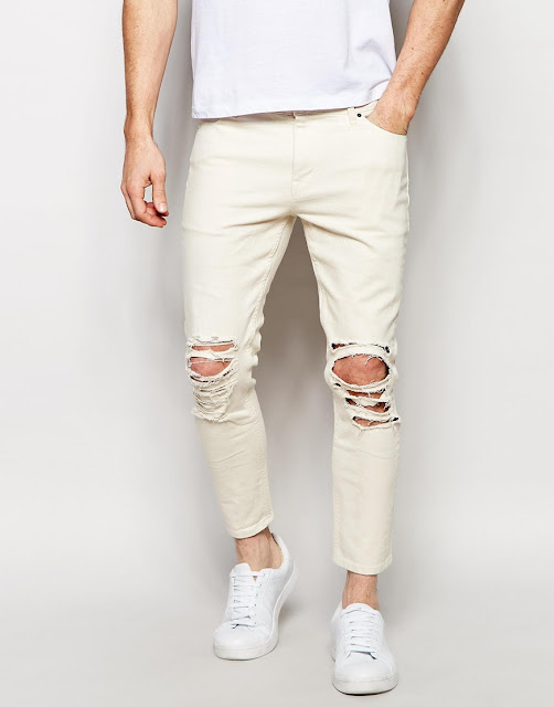 ASOS: Skinny Jeans in Cropped Length with Extreme Rips
