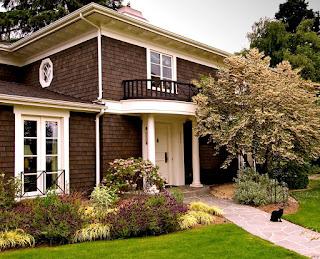 warna cat depan rumah yang elegan Dark brown