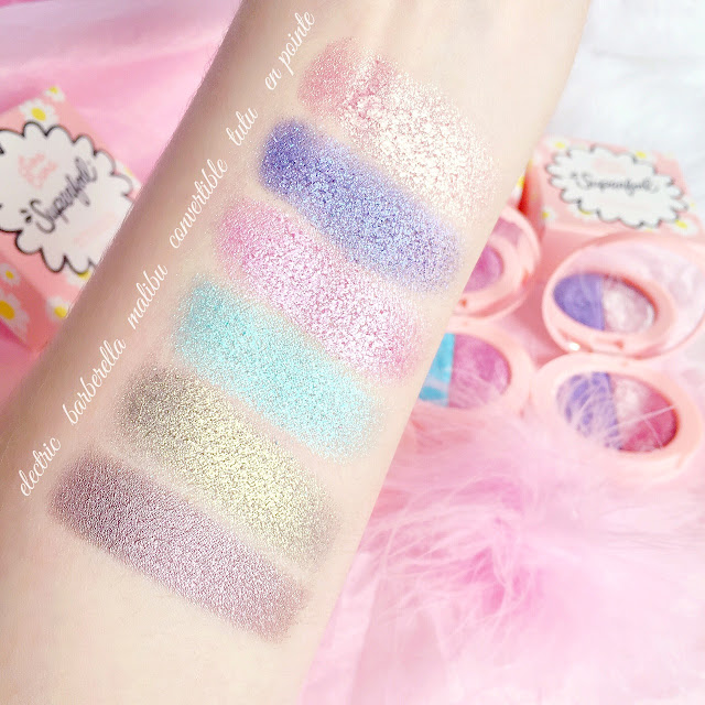 Lime Crime Superfoil Eyeshadow Swatches | Tutu/En Pointe, Malibu/Convertible, Electric/Barberella