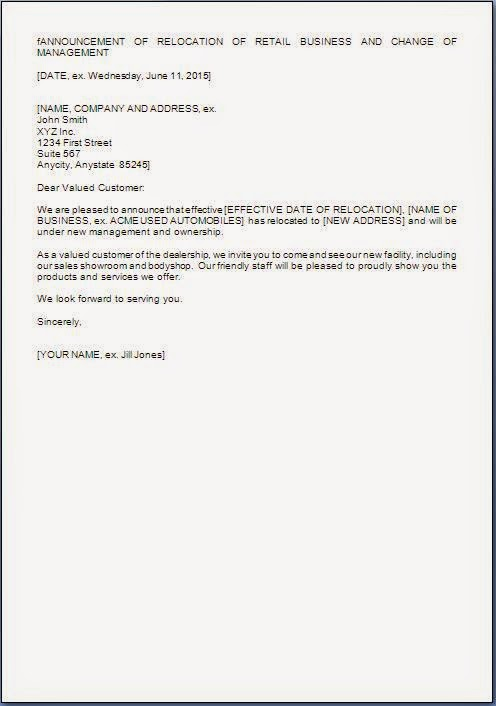 Gallery of Change Of Management Letter - new business letter format to client