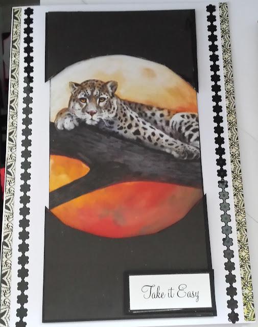 "Take it Easy - Leopard on branch - Pollyanna Pickering 5"" x 7"" card"