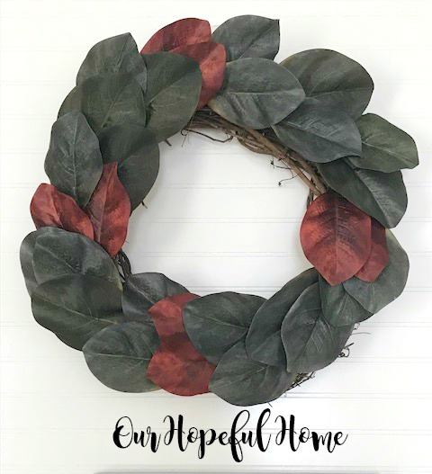 DIY faux magnolia leaf wreath