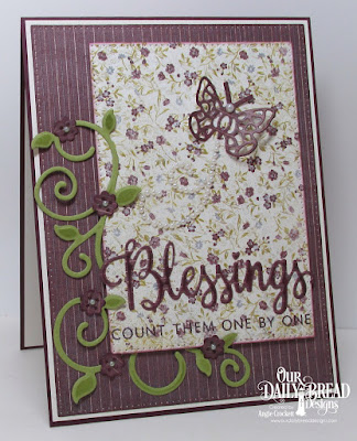 ODBD Many Blessings Stamp/Die Duos, ODBD Custom Fancy Foliage Dies, ODBD Custom Pretty Posies Dies, ODBD Custom Bitty Butterflies Dies, ODBD Custom Pierced Rectangles Dies, Card Designer Angie Crockett