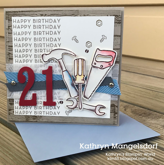 Stampin' Up! Nail It, Big on Birthdays, Hardwood, Special Celebrations, 21st Birthday Card created by Kathryn Mangelsdorf