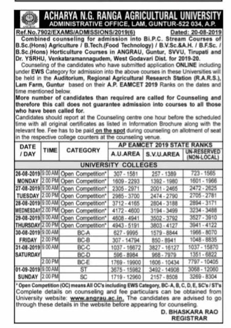 ANGRAU BiPC Stream Degree Admissions Combined Counselling dates - AP EAMCET 2019