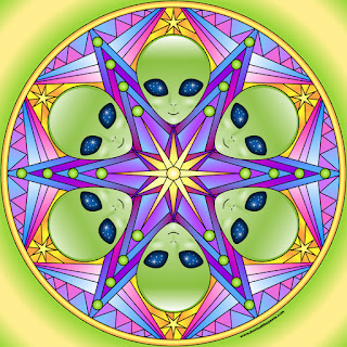 Alien mandala  with blank version to color