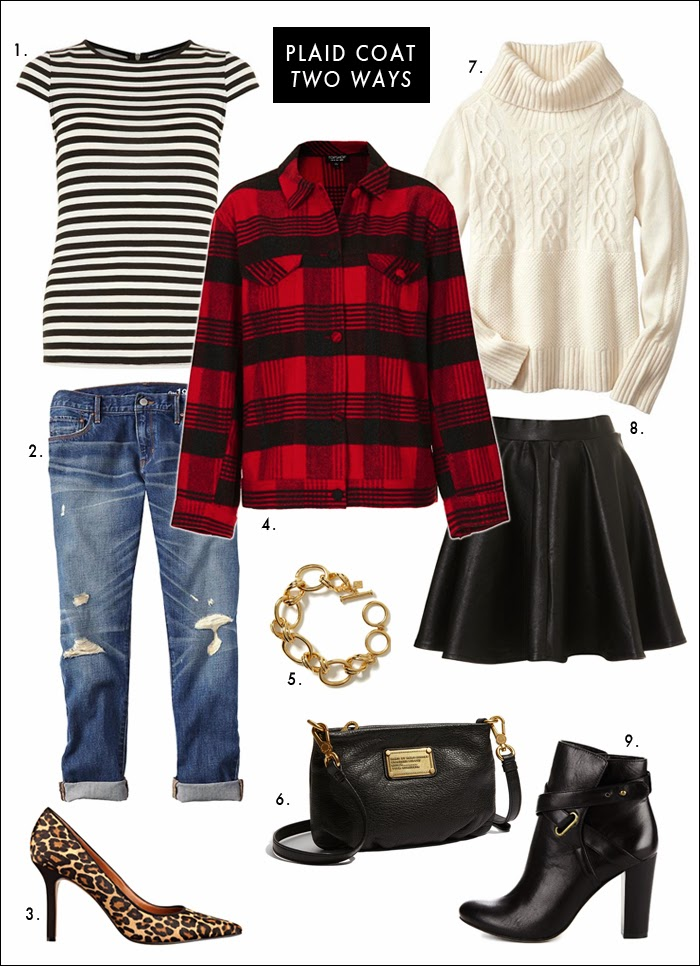 faux leather skirt, skater skirt, jcrew plaid coat, topshop, sole society, distressed denim, how to wear plaid, how to mix prints, chain bracelet, great sales, winter style