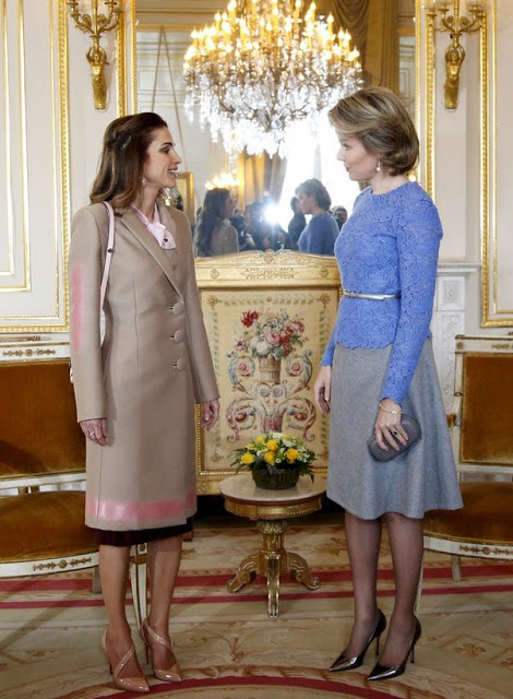 Queen Mathilde Received Queen Rania Of Jordan At The Royal Palace