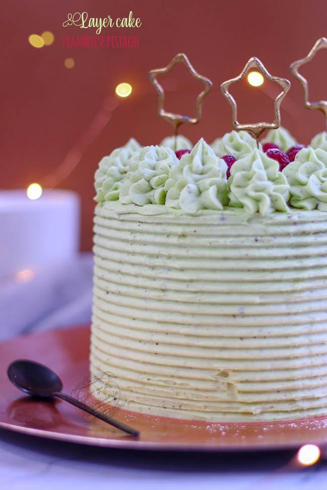 layer cake pistache framboise recette