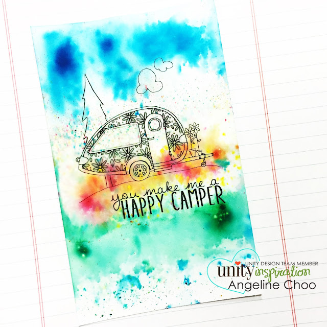 Unity Stamp Company: Stamp of the Week - Camper Bliss #unitystampco #scrappyscrappy #sotw #campervan #camperbliss #motorhome #card #cardmaking #papercraft #colorburst #kenoliver