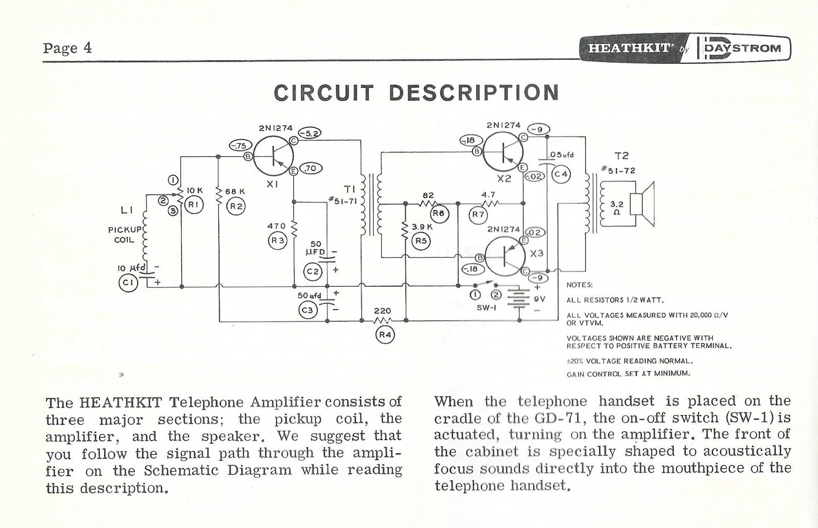 hight resolution of all of the telephone amplifiers had the typical circuit design except for ampliphone and heathkit amps