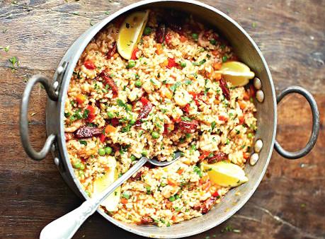 Paella de pollo y chorizo de jamie oliver la cocina de for Cocina de jamie oliver