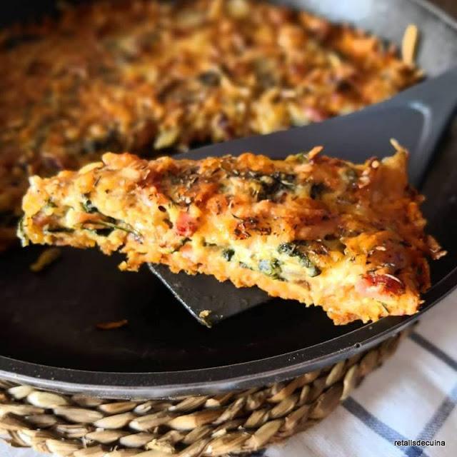 Quiche d'espinacs i cansalada amb base de moniato