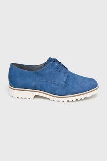 Pantofi casual femei albastri din piele naturala