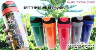 Souvenir Tumbler Daytona Insert, Tumbler Murah Chielo, Botol promosi, souvenir DAYTONA drinkware, Souvenir Tumbler Insert Paper plastik di Tangerang