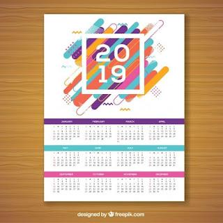Calendario para 2019 en estilo memphis