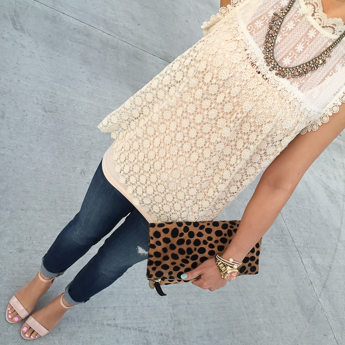 Anthropologie lace top Clare V leopard foldover clutch Loft modern skinny petite jeans BP luminate sandals