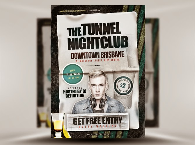 Free Tunnel Nightclub Flyer Template PSD