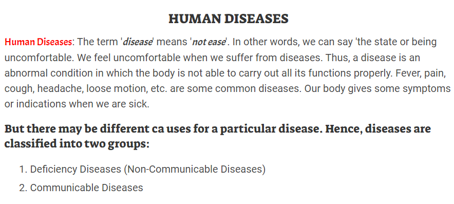 Human Disease- Types, Cause and Prevention
