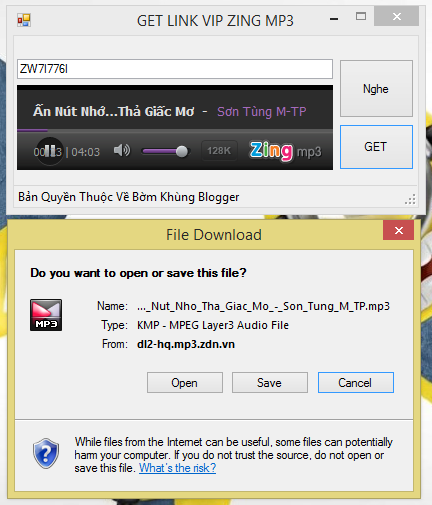 [VB.Net] How to GETLINK VIP ZING MP3?