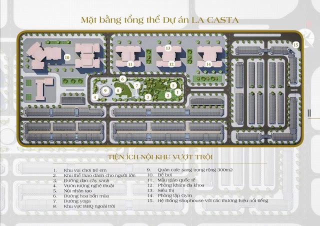 Mặt bằng tổng thể tiện ích nội khu của Lacasta