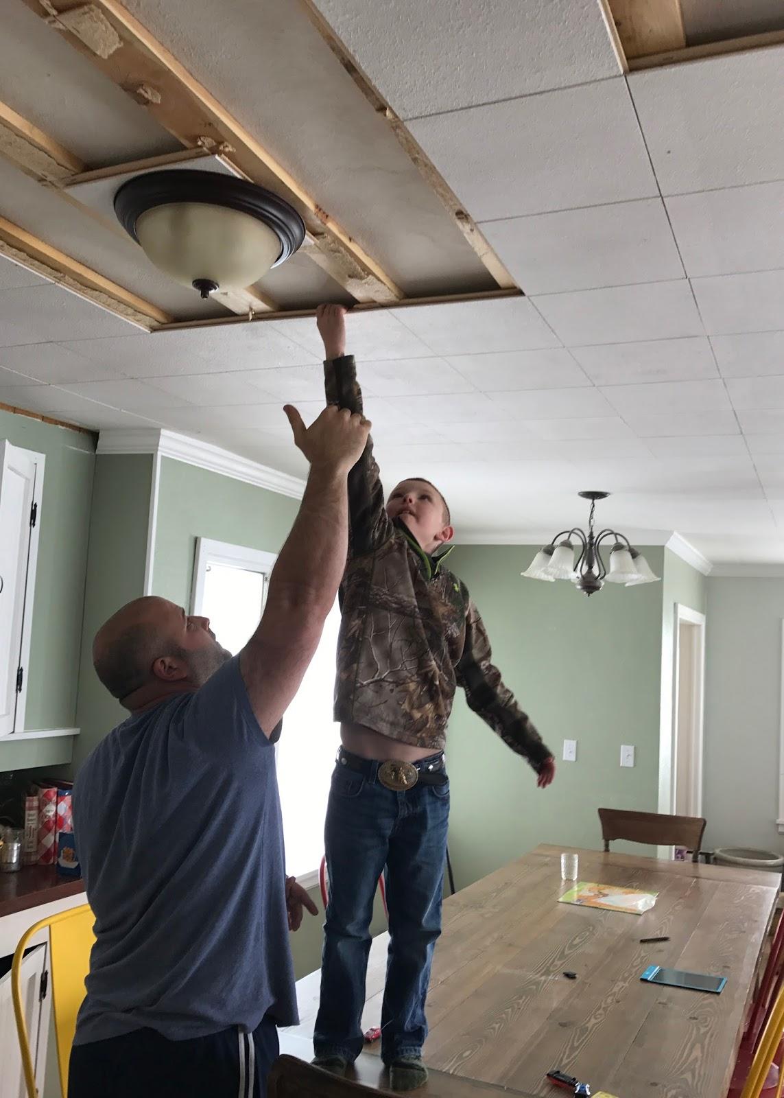 Farmhouse Ceiling - removing ceiling tiles | Averie Lane: Farmhouse ...