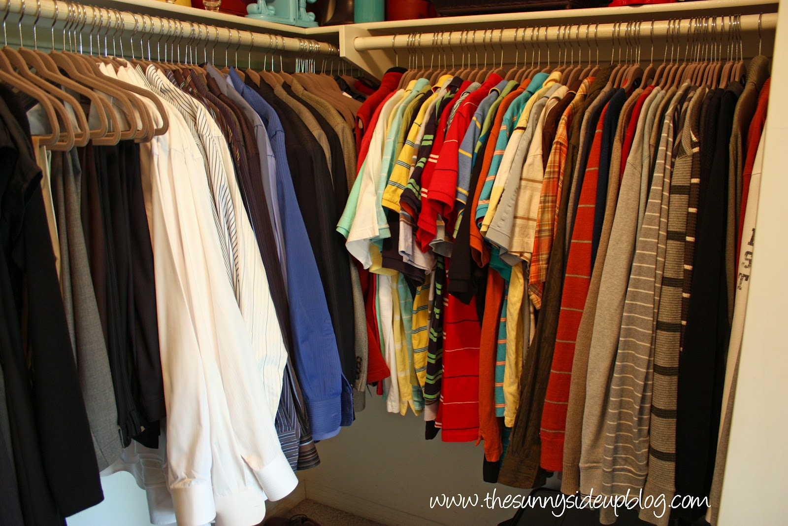 Kenny S Clothes Got A Makeover Too I Organized All Of His Slacks Dress Shirts Collared And Long Sleeved Together