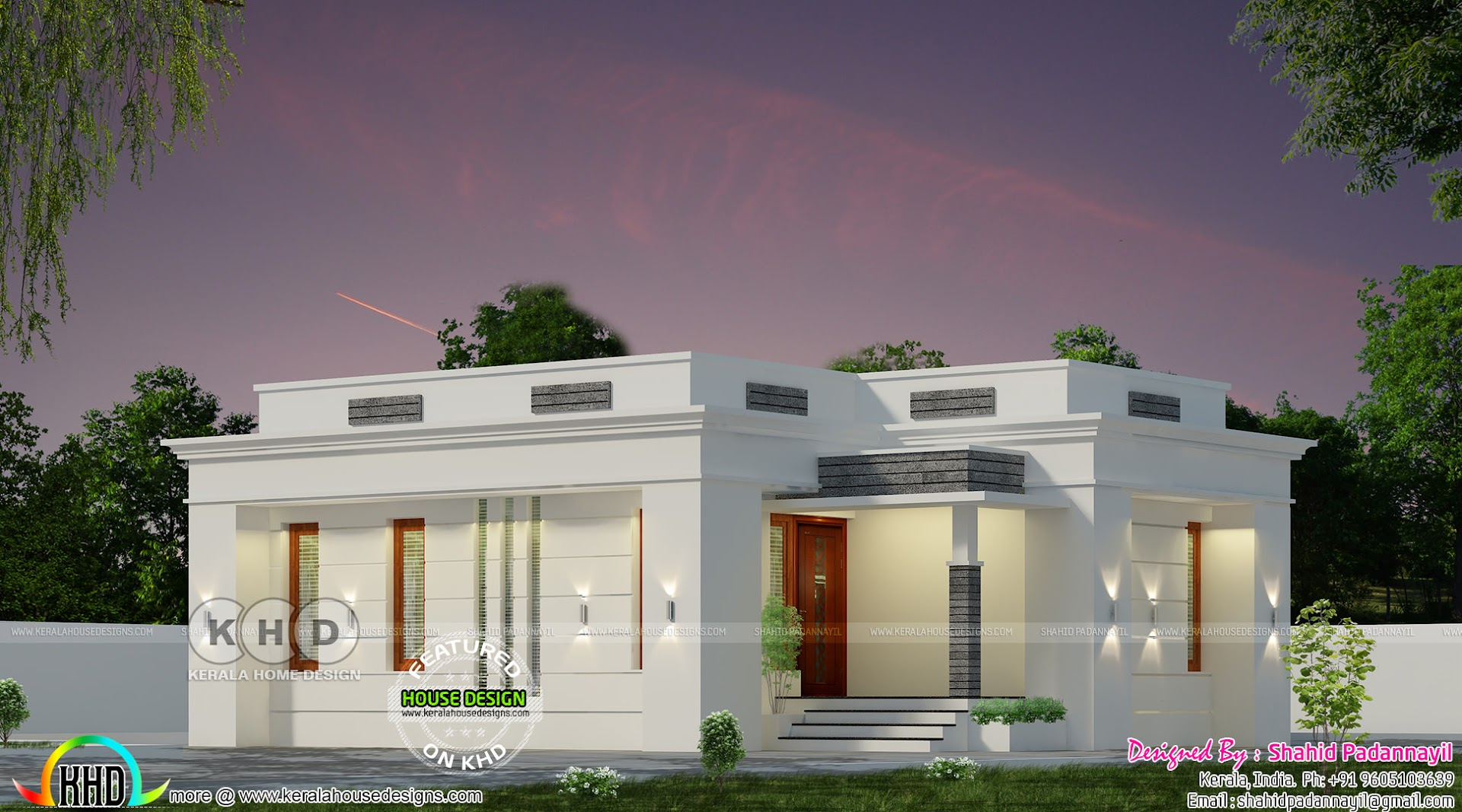 Flat roof 2 bedroom single floor home plan - Kerala home ...