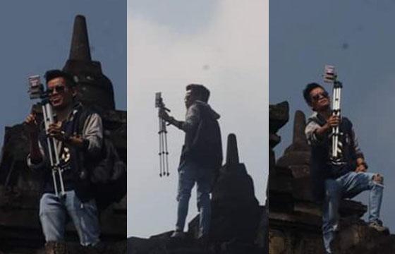 Viral! Foto Pria Panjat Candi Borobudur Untuk Selfie Hebohkan Netizen
