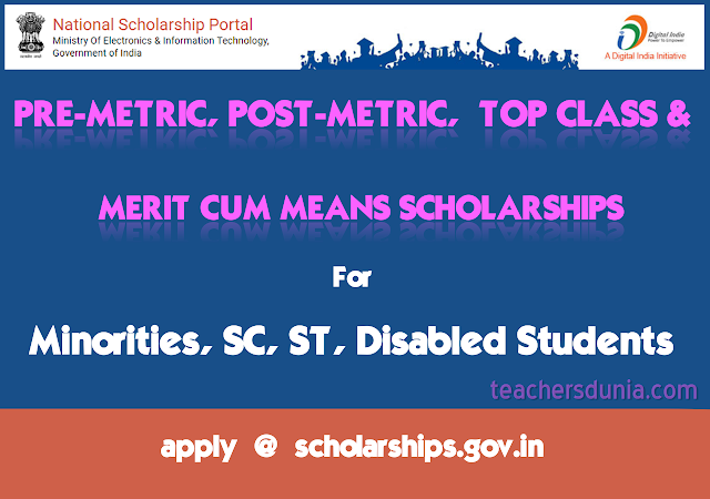 Natiional-Scholarships-Pre-metric-post-metric-meritcummeans-for-minorities-SC-ST-Disabled-Students