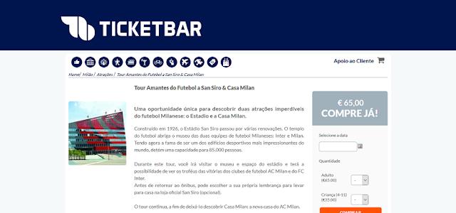 Ticketbar para ingressos para o passeio pelo San Siro & Casa Milan