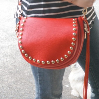 AwayFromTheBlue | Rebecca Minkoff red studded saddle bag and flared jeans
