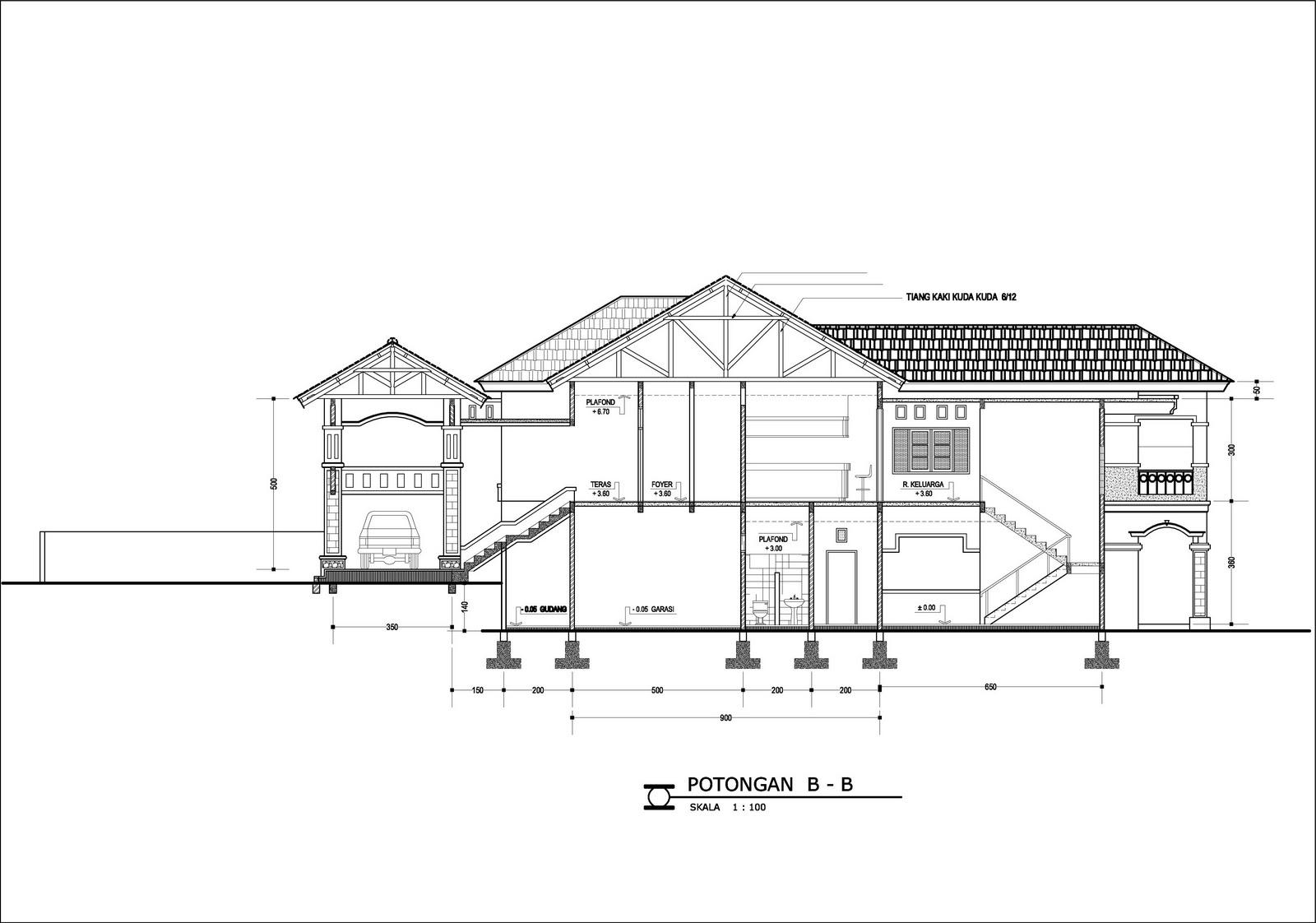 Contoh Desain Rumah DENAH RUMAH DI TANAH BERKONTUR TIPE