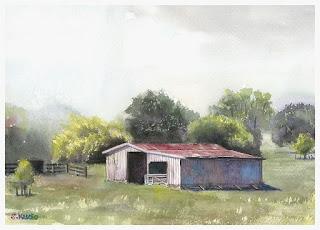 Barn (New Zealand / Watercolor)  納屋(ニュージーランド / 水彩)