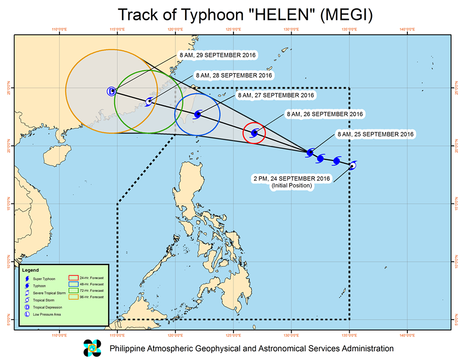 'Bagyong Helen' PAGASA weather update September 25, 2016 track